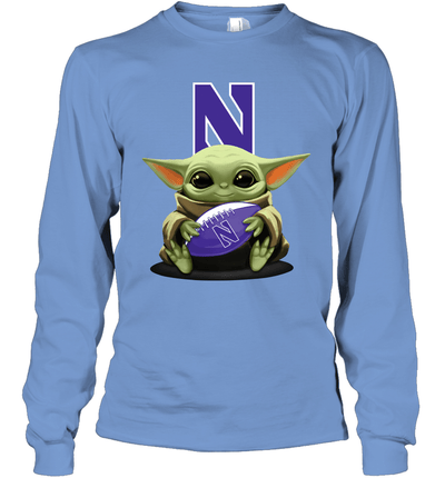 Baby Yoda Hug Northwestern Wildcats The Mandalorian Long Sleeve T-Shirt