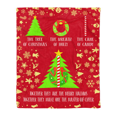 The Tree Of Christmas The Wreath Of Holly The Cane Of Candy Together - Fleece Blanket