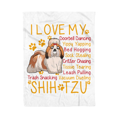 I Love My Shih Tzu Doorbell Dancing Yippy Yapping Dog Lover - Premium Fleece Blanket