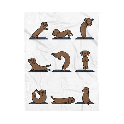 I Love Dachshunds And Yoga Meditation Outfit Dachshund Dog Yoga Pose Funny - Premium Fleece Blanket