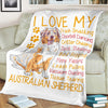 I Love My Australian Shepherd Trash Snacking Doorbell Dancing Dog Lover - Premium Fleece Blanket