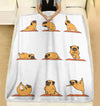 Pug And Yoga Pose Downward Funny Dog Lover Yoga Meditation - Premium Fleece Blanket