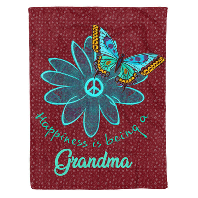 Happiness Is Being A Grandma - Grandma Daisy Flower Butterfly Peace Floral Graphic Tee Gift Ideas - Fleece Blanket