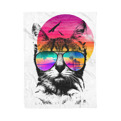 Love Cat With Sunglasses Summer Beach Rainbow Retro - Fleece Blanket