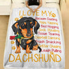 I Love My Dachshund Vacuum Dueling Sock Stealing Dog Lover - Premium Fleece Blanket