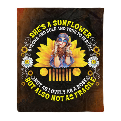 She's A Sunflower But Also Not as Fragile Funny Jeep Lady Gift - Fleece Blanket