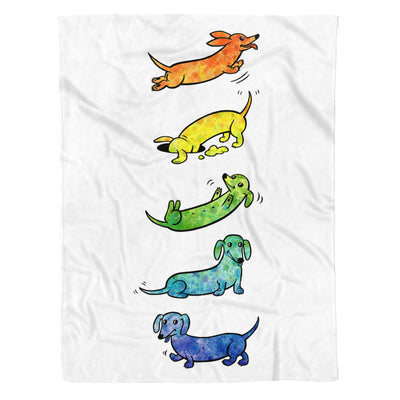 Watercolor Dachshunds Happy Activities Dog Lover - Premium Fleece Blanket