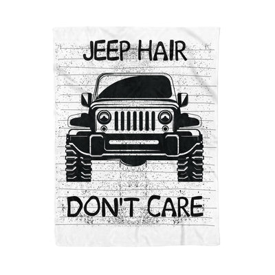 Jeep Hair Don't Care Funny Windy Driving Jeepin Gift - Fleece Blanket