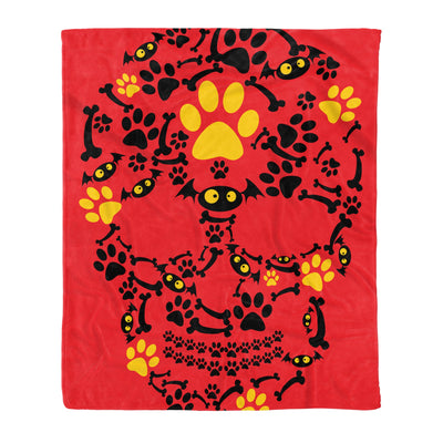 Crazy Cool Pumpkin Dog Paw Face Scary Halloween Skull - Fleece Blanket