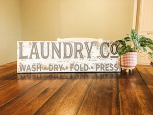 Grey Antique Laundry Co wood sign
