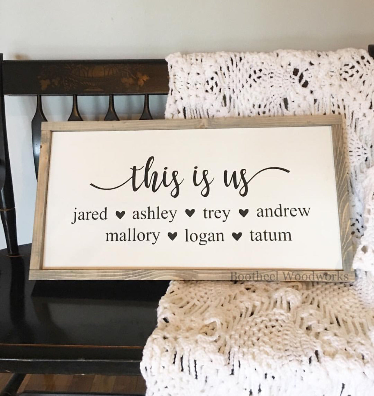 This Is Us + Names Wood Sign