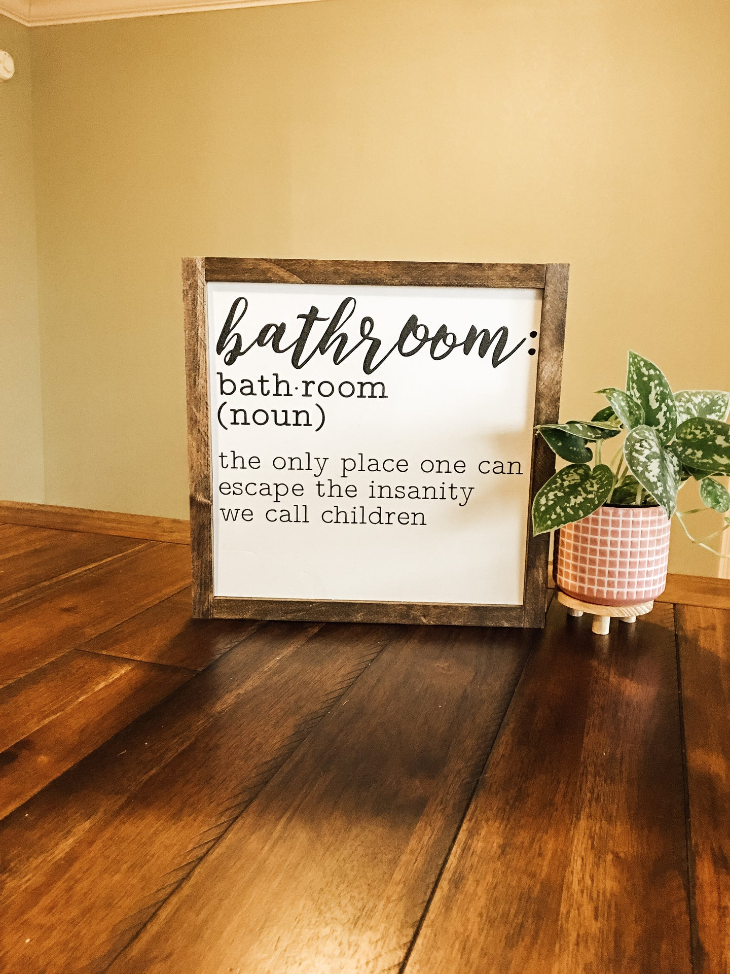 DIY Bathroom Definition wood sign