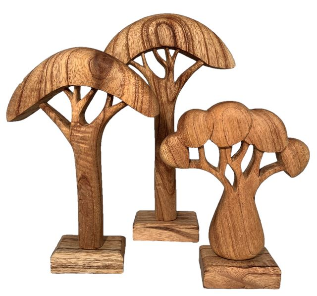 African Wooden Trees Natural - Set of 3 Colours of Australia