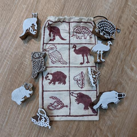 Australian Animal Block Print Set Siham Craft