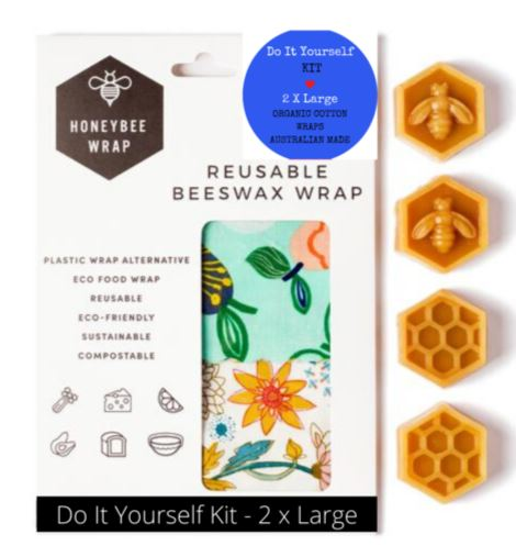 DIY Beeswax Wrap Kit - 2x Large HoneyBee Wraps