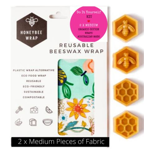 DIY Beeswax Wrap Kit - 2x Medium HoneyBee Wraps