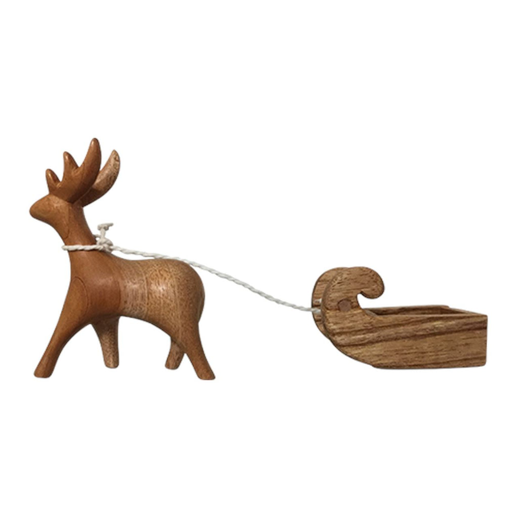 Wooden Reindeer and Sleigh set/2pc Colours of Australia