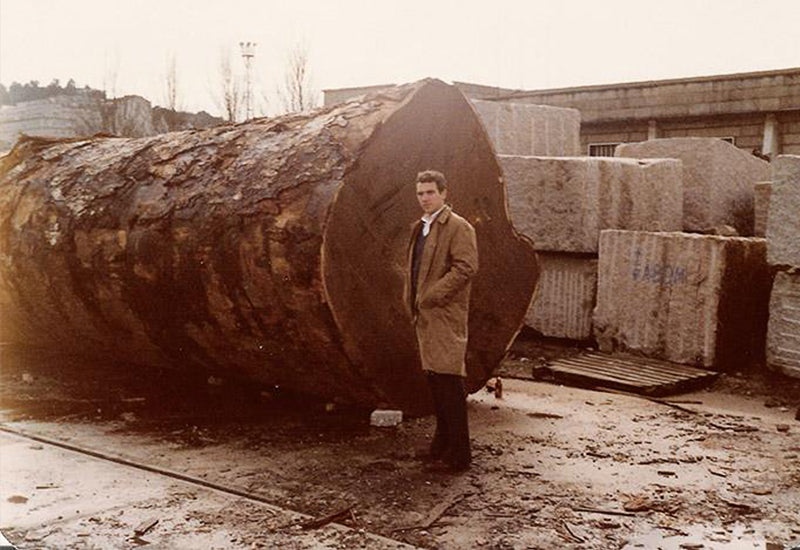 Vintage photo of a great tree arriving to our factory in Spain
