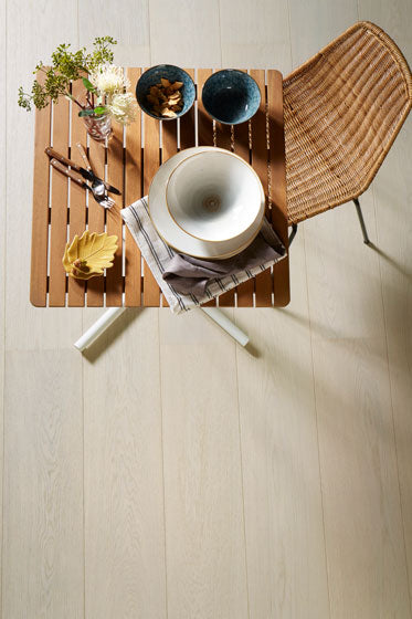 White Pearl Select wooden flooring by ajami surfaces