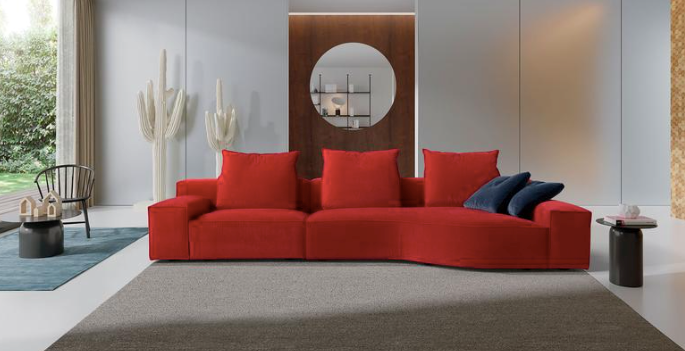 canapé design contemporain rouge