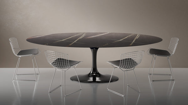 Tulip Oval Dining table with Sahara marble top