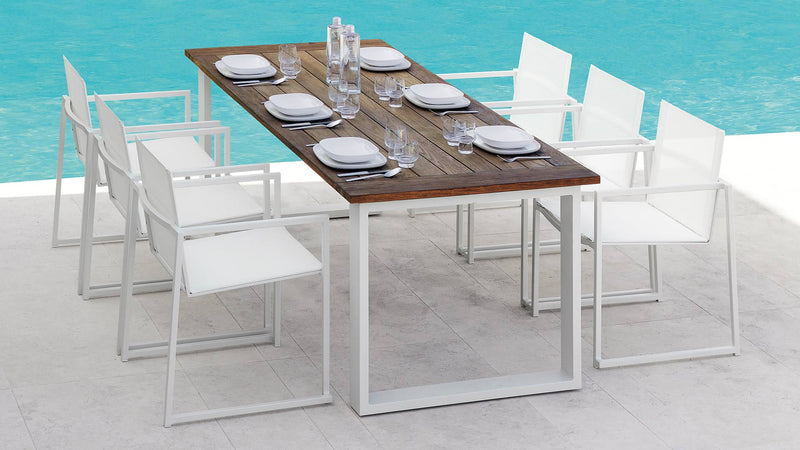 Chaise essence aluminium Table essence teak