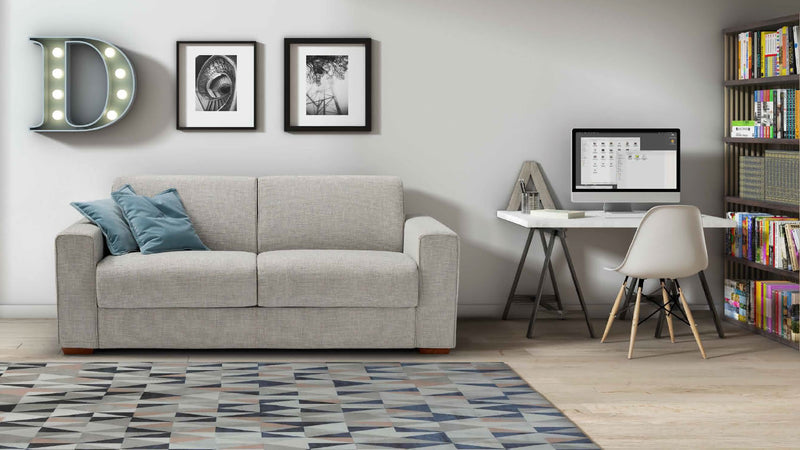 DALTON-PIÙ Sofa Bed 2 seater with metal base and double bed