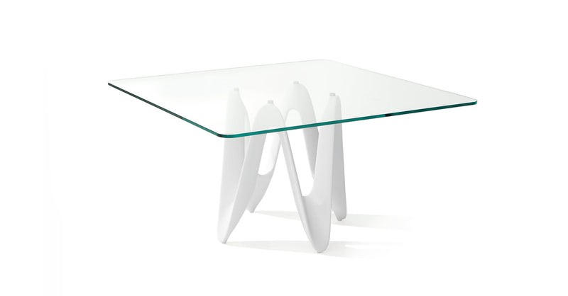 Lambda Square Table minimal design with glass top 1