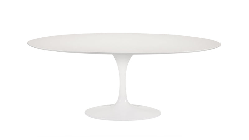 Tulip Oval Laminated dining table with lacquered aluminum base