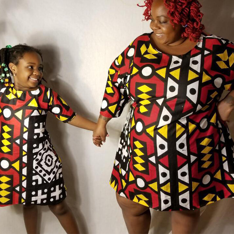 2a6a546ed60fd clothes Geometric Plus Size African Style Dress Mom and daughter matching  outfits NASHAKAITE
