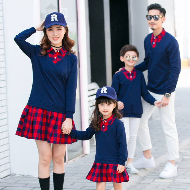 1e9ec895325d 2018 Autumn and Winter Family Matching Clothes Solid Plaid Long Sleeve  Cotton Mother Daughter Dresses Matching Outfits Look