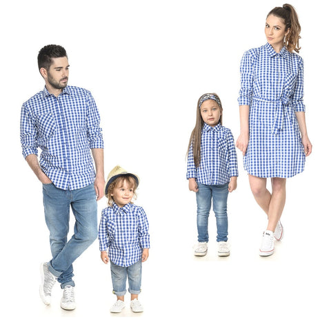 8530fc5195cf Daddy Mommy Daughter Son Plaid T-shirt Baby Kid Tops Shirts Family Matching  Outfit