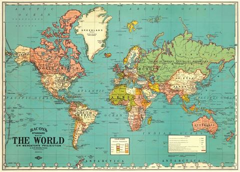 World Map Poster. Brights.