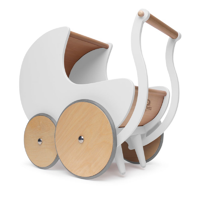 Wooden Pram + Walker. White