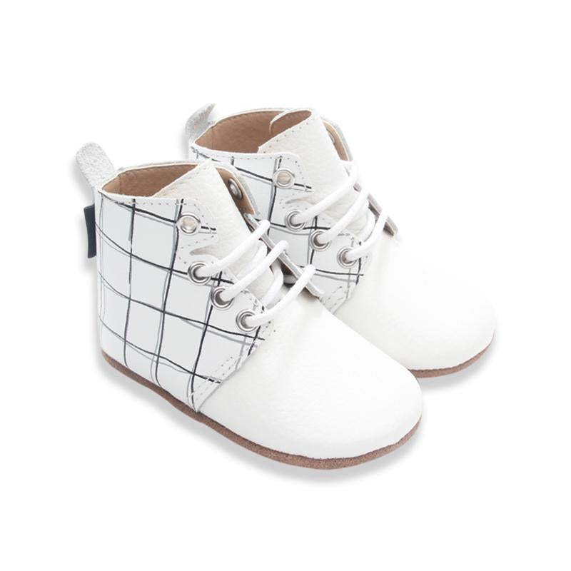 Oxford Boot in Milk Grid - Little Big