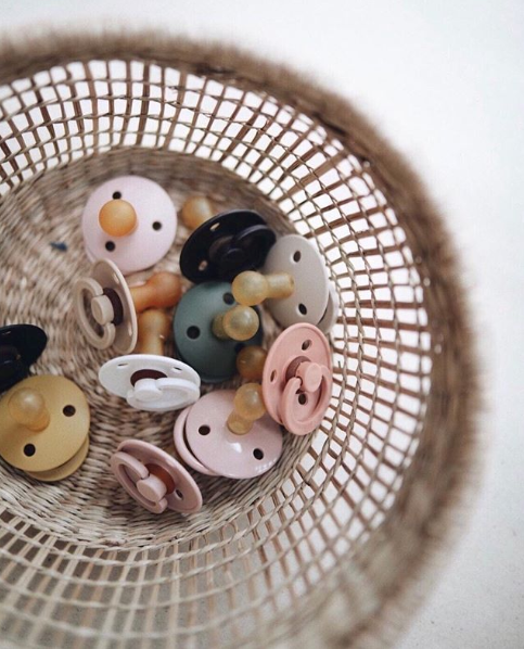 Bibs Pacifiers. Dark Oak + Blush