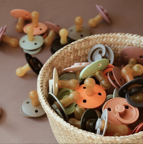 Bibs Pacifiers. Peach + White