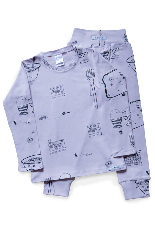 Breakfast Long PJ. Lilac