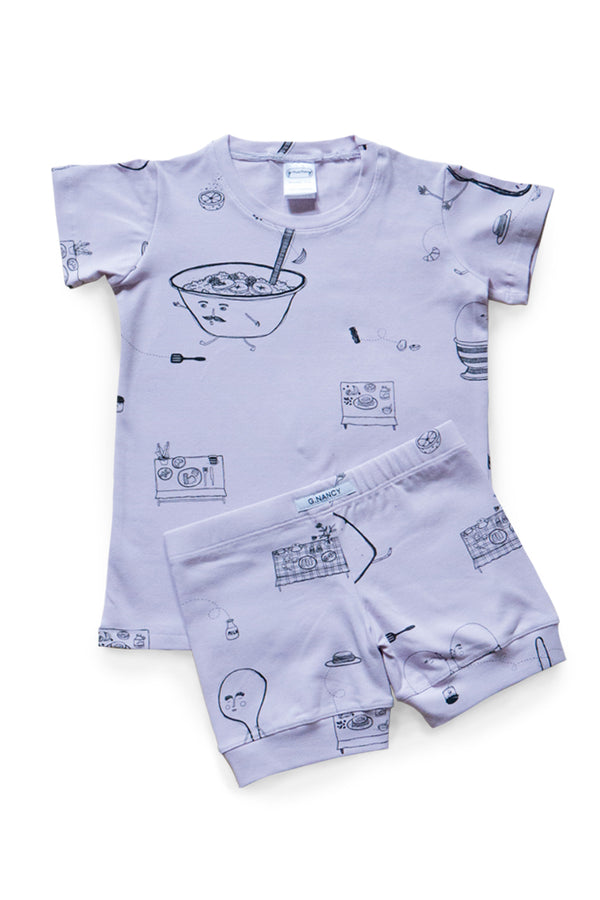 Breakfast Shortie PJ. Lilac