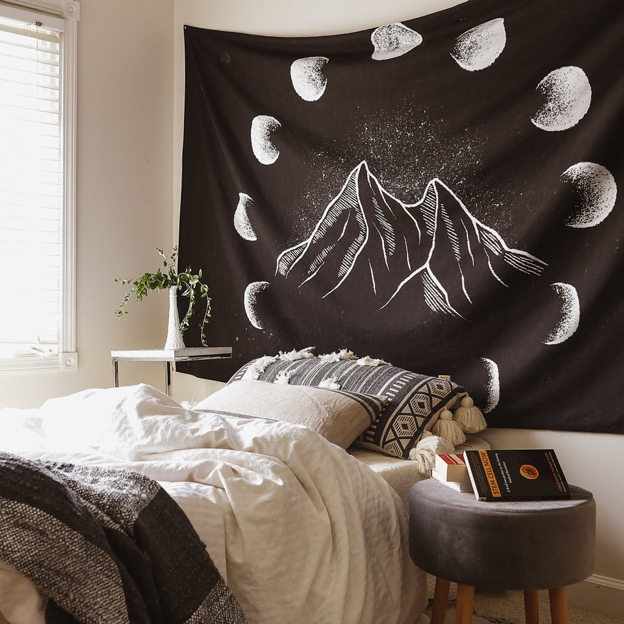 Moon Phase Mountain Tapestry
