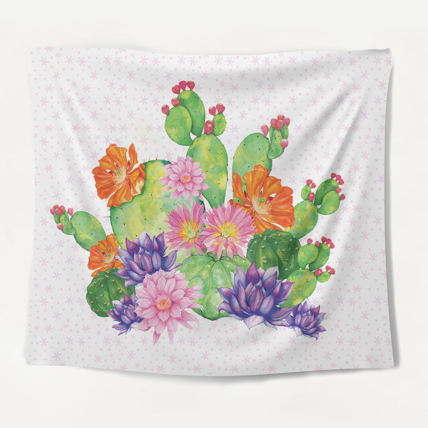 Floral Cactus Tapestry