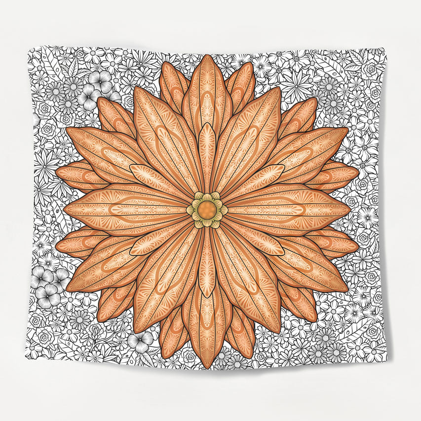 Illustrated Flower Tapestry