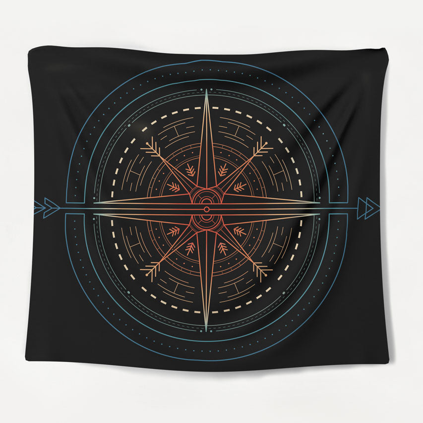 Vintage Rainbow Compass Tapestry