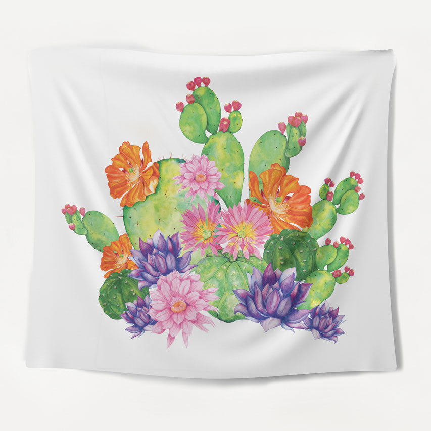 White Cactus Tapestry
