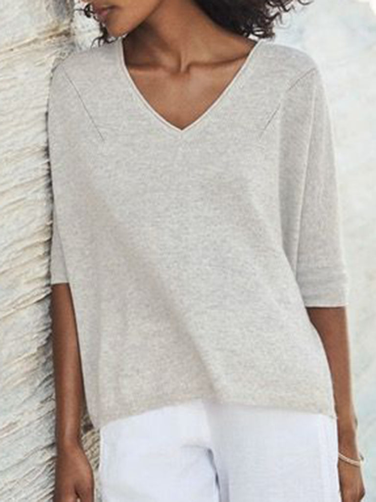 V Neck Half Sleeve Cotton Shirts & Tops