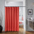Water Repellant Stripes Shower Curtain with Hooks (Red)