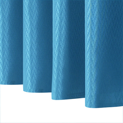 Water Repellant Solid Stripe Shower Curtain with Hooks (Blue)