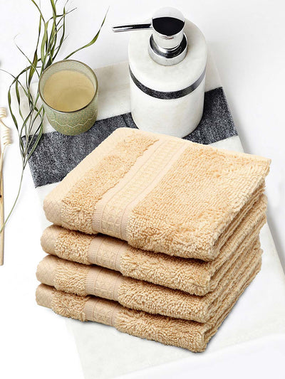 Spaces Organic 4 Pieces Face Towels (Brown)