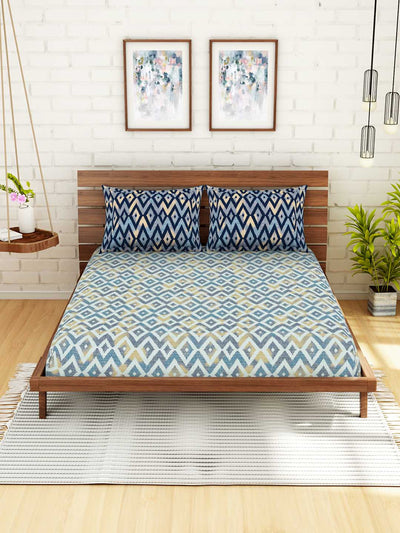 Spaces Geostance Geometric 1 Double Bedsheet With 2 Pillow Covers (Blue)