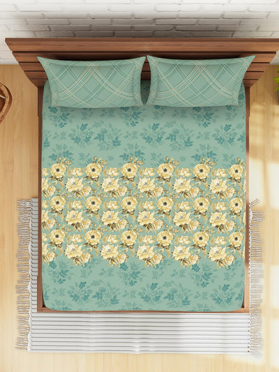 Spaces Bonica Floral 1 Double Bedsheet With 2 Pillow Covers (Green)